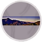 View From Eleven Ranges Overlook Round Beach Towel