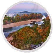 View From Greens Cave Bluff Round Beach Towel