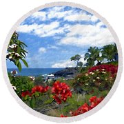 View From Keauhou Kona Round Beach Towel