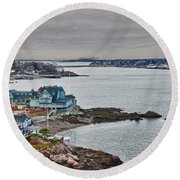 View From Marblehead Lighthouse Round Beach Towel