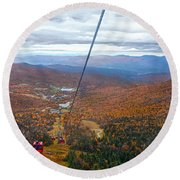 View From Mount Mansfield In Autumn Round Beach Towel