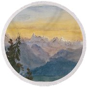 View From Mount Pilatus Round Beach Towel