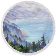 View From Nepenthe Round Beach Towel
