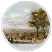 View From Parisian Heights Round Beach Towel