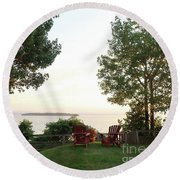 View From Ring Dang Doo South Hero Vermont Round Beach Towel