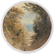 View From Rook's Hill, Kent Round Beach Towel
