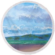 View From Sandy Bay Exmouth Round Beach Towel