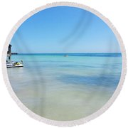 View From South Beach In Key West Round Beach Towel