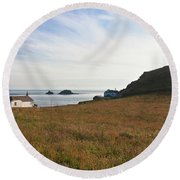 View From St Helen's Oratory Cape Cornwall Round Beach Towel