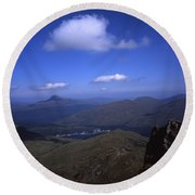 View From Summit Of Ben Arthur The Cobbler  Towards Loch Long Arrochar Loch Lomond And Ben Lomond Round Beach Towel