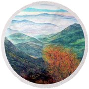 View From The Autumnal Belchen   Round Beach Towel