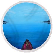 View From The Beach Round Beach Towel