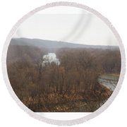 View From The Bluff Round Beach Towel
