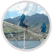 St. Kitts From The Bow Round Beach Towel