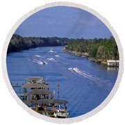 View From The Bridge Of Lions Round Beach Towel