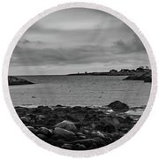 View From The Harbor Round Beach Towel