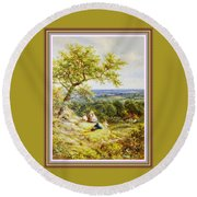 View From The Hill On The Village Below. P B With Decorative Ornate Printed Frame. Round Beach Towel