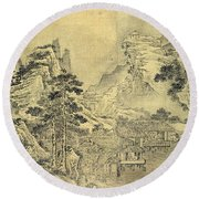 View From The Keyin Pavilion On Paradise - Baojie Mountain Round Beach Towel by Wang Wen