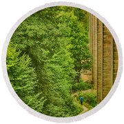 View From The Lllangollen Aqueduct In Wales Round Beach Towel