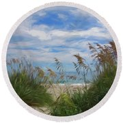 View From The Outer Banks Dunes Round Beach Towel