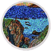 View From The Pacific Coast Highway Round Beach Towel