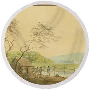 View From The Packet Wharf At Frenchtown Looking Down Elk Creek Round Beach Towel