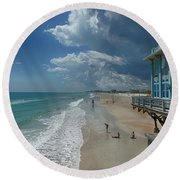 View From The Pier Round Beach Towel