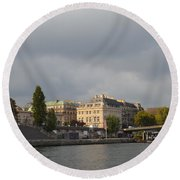 View From The Seine Round Beach Towel