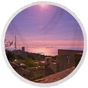 View From The Top In Sicily 2 Round Beach Towel