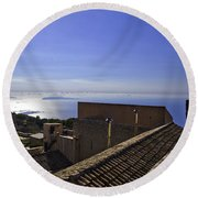 View From The Top In Sicily Round Beach Towel
