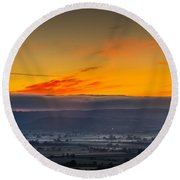 View From The Top Of Glastonbury Tor At Sunrise Round Beach Towel