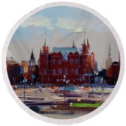 View From The Window Of The Hotel Metropol. Moscow. Manezhnaya Square. Round Beach Towel