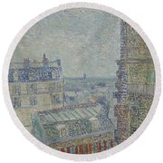 View From Theo S Apartment Paris, March - April 1887 Vincent Van Gogh 1853  1890 Round Beach Towel
