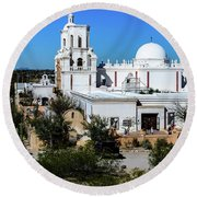 View From Tthe Hill - San Xavier Mission - Tucson Arizona Round Beach Towel