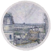 View From Vincent's Room In The Rue Lepic Round Beach Towel