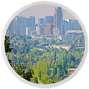 View From Wealthy Neighborhood In Hills Of Santiago-chile Round Beach Towel