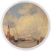 View In Venice With San Giorgio Maggiore Round Beach Towel by Richard Parkes Bonington