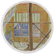 View Of A Butcher S Shop Arles, February 1888 Vincent Van Gogh 1853  1890 Round Beach Towel