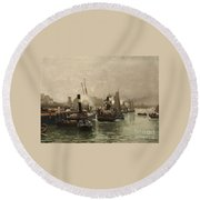 View Of A Dutch Harbour Round Beach Towel