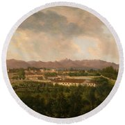 View Of A Mine In Mineral Del Pozos Round Beach Towel