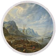 View Of A River With Boat Moorings Round Beach Towel