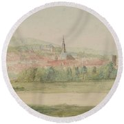 View Of A Town In Saxony Round Beach Towel
