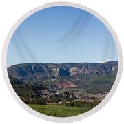 View Of A Village In Valley, Santa Round Beach Towel