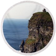 View Of Aran Islands And Cliffs Of Moher County Clare Ireland  Round Beach Towel