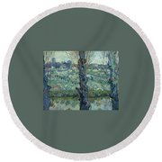 View Of Arles, Flowering Orchards Round Beach Towel