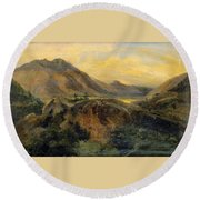 View Of Bagneres De Luchon. Pyrenees Round Beach Towel