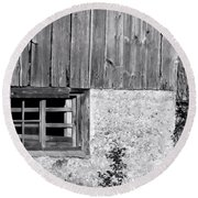 View Of Barn Exterior Round Beach Towel