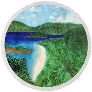 View Of Beach In St John Us Virgin Islands  Round Beach Towel
