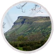 View Of Benbulben From Glencar Lake Ireland Round Beach Towel