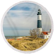 View  Of Big Sable Point Michigan Round Beach Towel